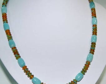 Gemstone necklace Amazonite rollers with glass rondelles
