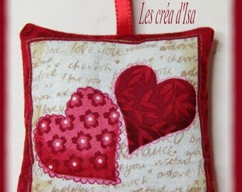 cushion pattern hearts filled with Lavender buds