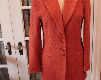 1970's Pumpkin Orange Women's Suit Jacket