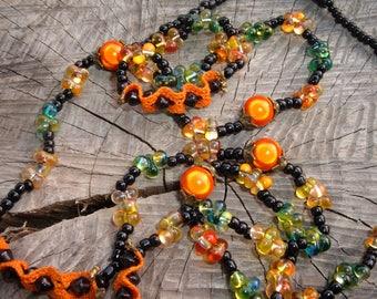 Necklace beads glass orange Halloween Gothic Black Lace