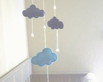 Blue and White Crescent Moon & Cloud Mobile with Crystals