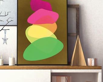 Colorful Circles Print, Modern Wall Art, Minimalist Print, Geometric Print, Warm Colors, Nursery Art, Wall Art