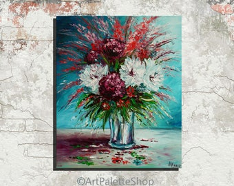 Still life Pink and White Flowers painting Valentine day Wall Decor Peonies painting Oil painting on canvas Gift for her Floral painting