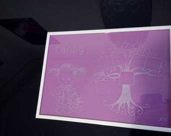 Frame A4 size customizable - print with a little baby girl and her teddy bear + 7 family tree photos
