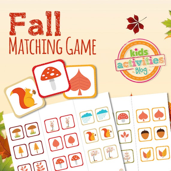 Fall Memory Match Printable Game for Preschoolers
