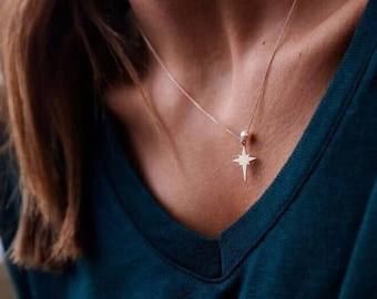 14K Gold North Star Necklace - Gold Necklace Available in 14k Gold, White Gold or Rose Gold