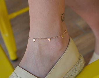 14K Gold Triangle Anklet/Hand-made Gold Anklet / Gold Anklet Available in 14k Gold, White Gold or Rose Gold