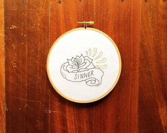 "Tattoo Embroidery Hoop ""Budding Sinner"" Hand Stiched // Black and Gold ~ Home Decor ~ Wall Art ~ Retro Embroidery ~ Dark & Delightful"