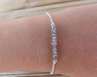 Labradorite silver chain 925 genuine gemstone bracelet