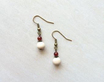 Carnelian stone and wood earrings