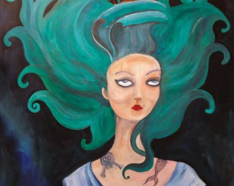 Marie Antoinette inspired woman painting / acrylic
