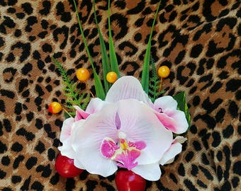 White Orchid Hair Flower With Cherries and Berries