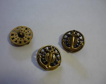 3 round engraved metal button bronze 22 mm