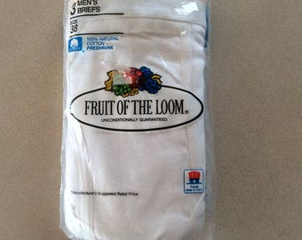 Vintage Fruit of the Loom Briefs Underwear White with Gold band size 38 from 1986