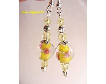 Yellow earrings, glass pearl earrings, yellow jewelry