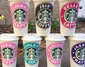 Personalized Starbucks Cups, Custom Coffee Tumbler, Wedding Party Starbucks, Teacher Gifts, Gift for Coffee Lovers, Custom Starbucks Cups