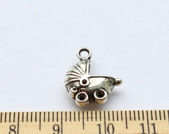 5 Baby Carriage Charms - Antique Silver - EF00082