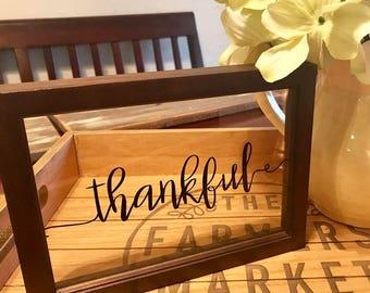 Thankful - Farmhouse Decor - Window Pane Sign - Thanksgiving sign