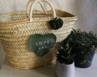 New! Heart message khaki linen basket
