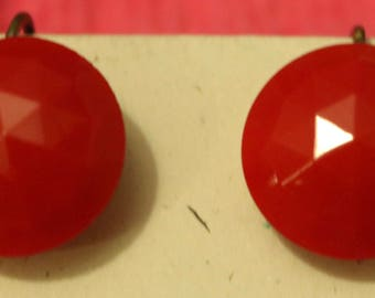 Lucite Button Screw Back Earrings