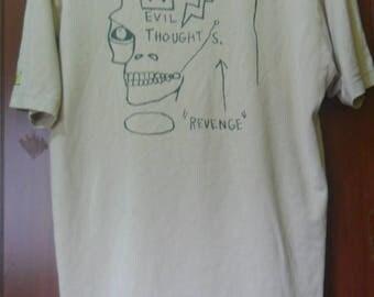 Vintage Jean-Michel Basquiat T shirt//Evil Thoughts/Revenge//Pop Art//kruger haring done