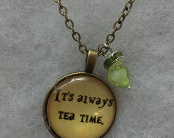 Handmade tea time necklace with pendant
