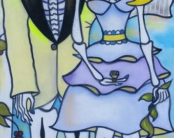 Day of the Dead Dias de los Muertos Wedding Gifs Anniversary Gifts Katrina Skeleton Art Custom Art Handmade