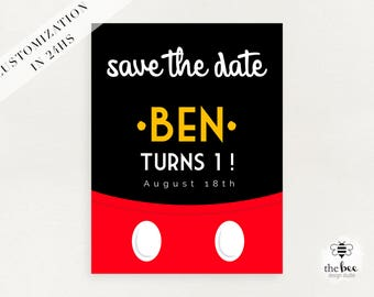 Mickey Mouse Save the Date Card, Mickey birthday, customized in 24hs