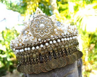 Belly dancer Beach Wedding Bridal Crown Tiara Festival Carnival Embellished Shell Headband