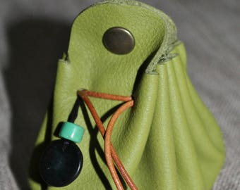Green soft leather purse