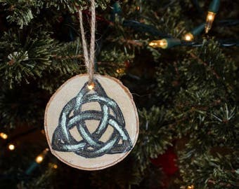 Triquetra Celtic Knot on Birch Christmas Yule Tree Ornament