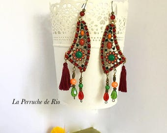 "Earrings Boho Bohemian hippie style tribal nomad ""Woodstock"" OOAK"