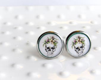 Skull and Floral Motif studs - Stainless steel Earrings - 12mm round - Epoxy resin - Spring Skull studs - Sensitive Earring - Valentine gift