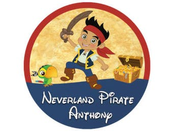 Personalized Jake and the Neverland Pirates Button - Pirate Party Favors - Disney Cruise Button - Pirate Night Button - Pirate Accessory