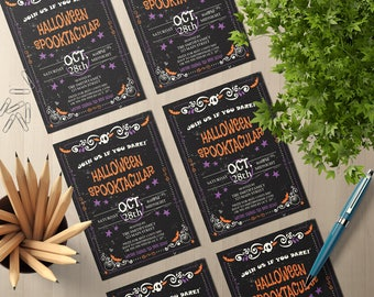 Printable Halloween Party Invite | Costume Party Invitation | Editable Halloween Invitation Template | PDF Instant Download