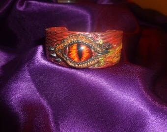 Red Dragon Eye polymer clay leather look wrist cuff
