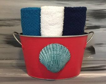 Red Bathroom Bin - Bathroom Wash Cloth Holder with Seashell with 9 wash cloths.