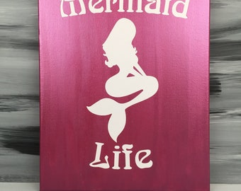 "Mermaid Picture - Mermaid Bathroom - Mermaid Sign - Mermaid Decor - 14"" X 11"" Canvas Picture with Mermaid - Metallic Berry Picture"