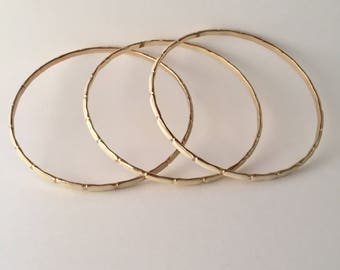 Skinny Vintage Cream & Gold Bangles - Set of 3
