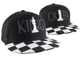 3D Puff Embroidery White Chess King and Queen on 2 Black and White Retro Flat Bill Structured Adjustable Black Trucker Style Caps Checkered