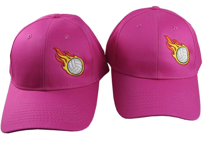 A Pair of Sporty Volleyball Fire Bullets Embroidery Designs on 2 Hot Pink Adjustable Structured Baseball Caps for Adult + for Child Age 6-14