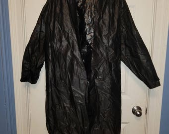 Black Raincoat with clear visor hood