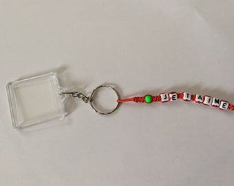 Key ring personalized with photo frame 1 strand
