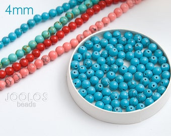 Blue howlite beads 4mm Blue beads Blue beads for jewelry Beads jewelry supply Synthetic beads / 20 beads About 3-4 cm