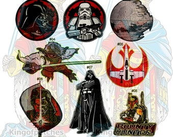 Star Wars Embroidered Big Patches Movie a New Hope Death Star Boba Fett Bounty Hunter X-wing Master Yoda Stormtrooper Empire Logo Anakin