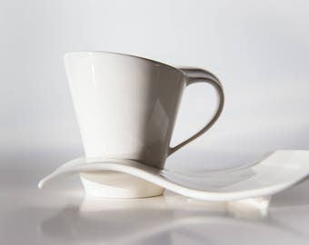 White Tea/Coffee Cups & Rectangle Saucers - Set of 6