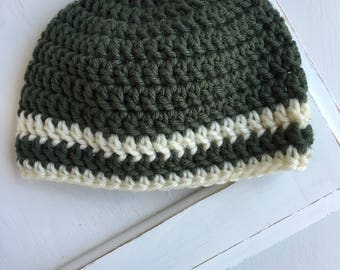 baby hat, crochet hat, green and cream striped hat, 3-6m, SALE