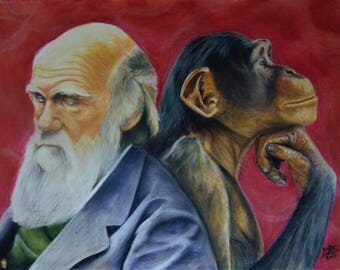 Original Charles Darwin and Chimpanzee Pastel Portrait
