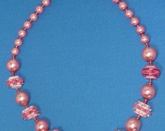 Pink button and Pearl Necklace