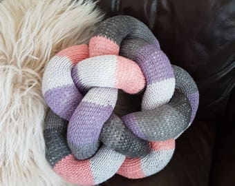 Hand Knitted knot cushion made with love in Wales, multi colours, beautiful home decor, adds awesome character to your home decor